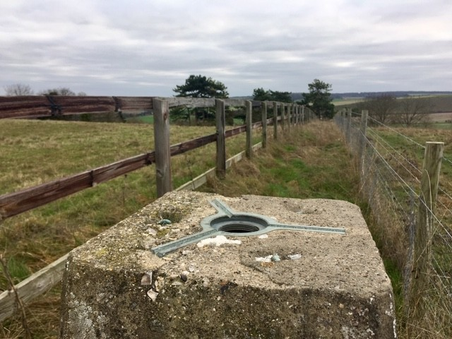 Trig point on Blewburton Hill