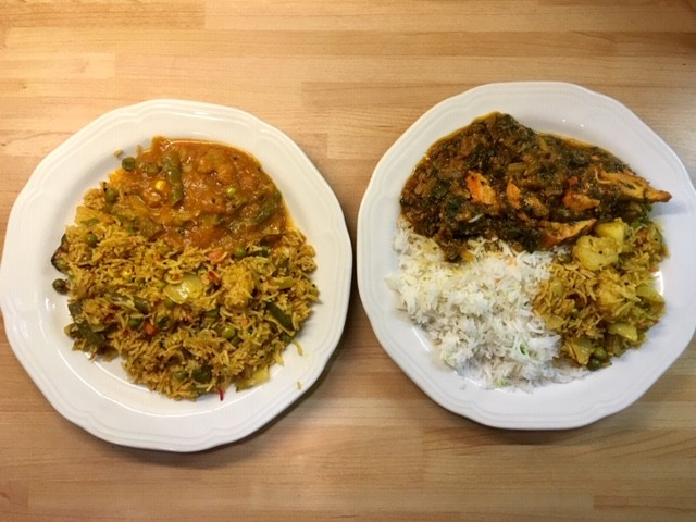 Vegetable biryani with curry and chicken tikka sag with pilau rice, Little India, Didcot