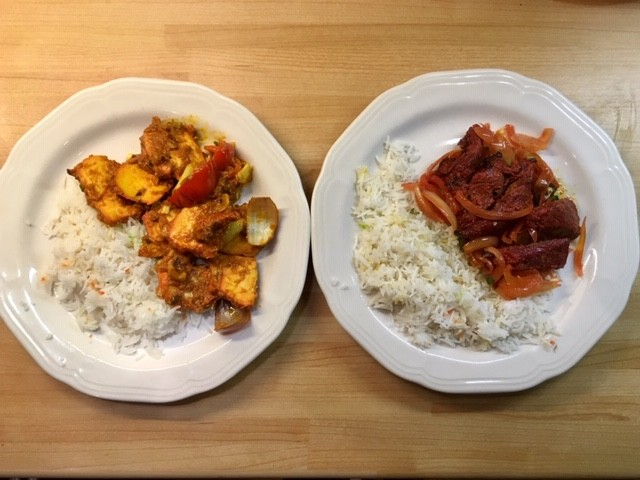 Garlic fried chicken and lamb tikka (starters) with pilau rice, Little India, Didcot