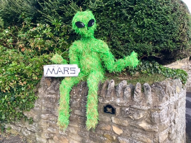 The little green man, East Hagbourne scarecrow trail