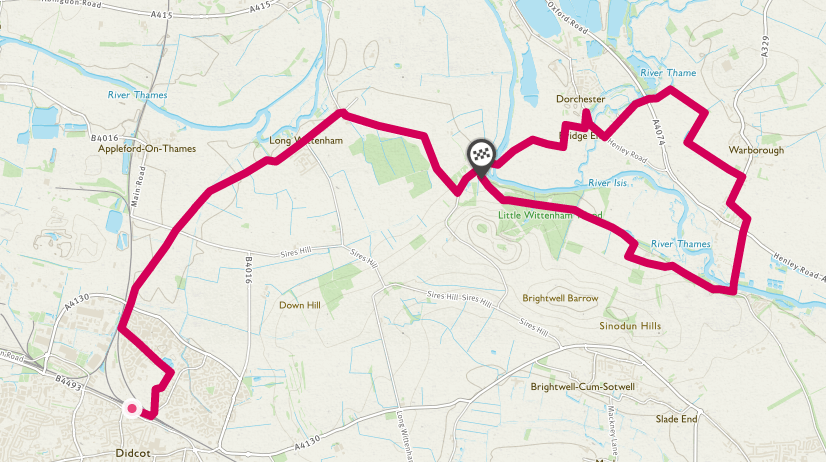 Outline route of Didcot to Warborough cycle route