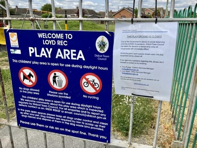 Closed playground signs during coronavirus pandemic