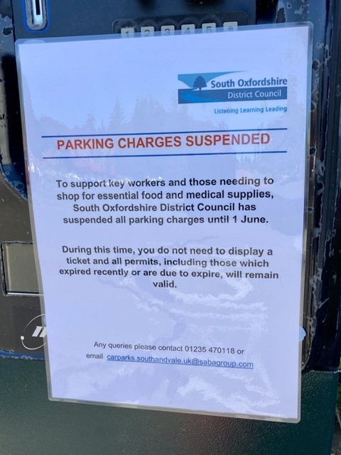 Parking charges suspended