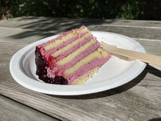 Blackcurrant and lemon stripe cake, Dorchester Abbey tearoom