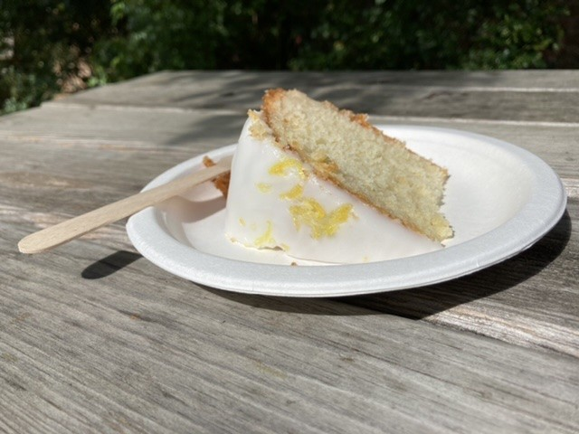 Lemon and elderflower cake, Dorchester Abbey tearoom