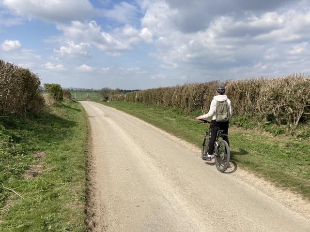 Cycling along Ambury Road, near Aldworth