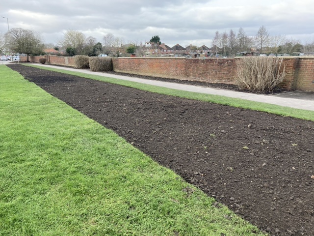 Prepared Didcot Town Council flowerbeds, February 2021